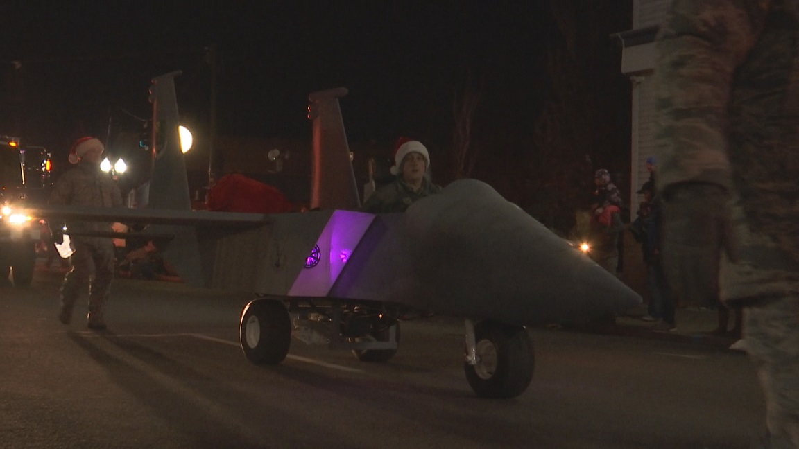 Photo of F-15 float from the 2017 Snowfalke Parade courtesy of KOBI-TV